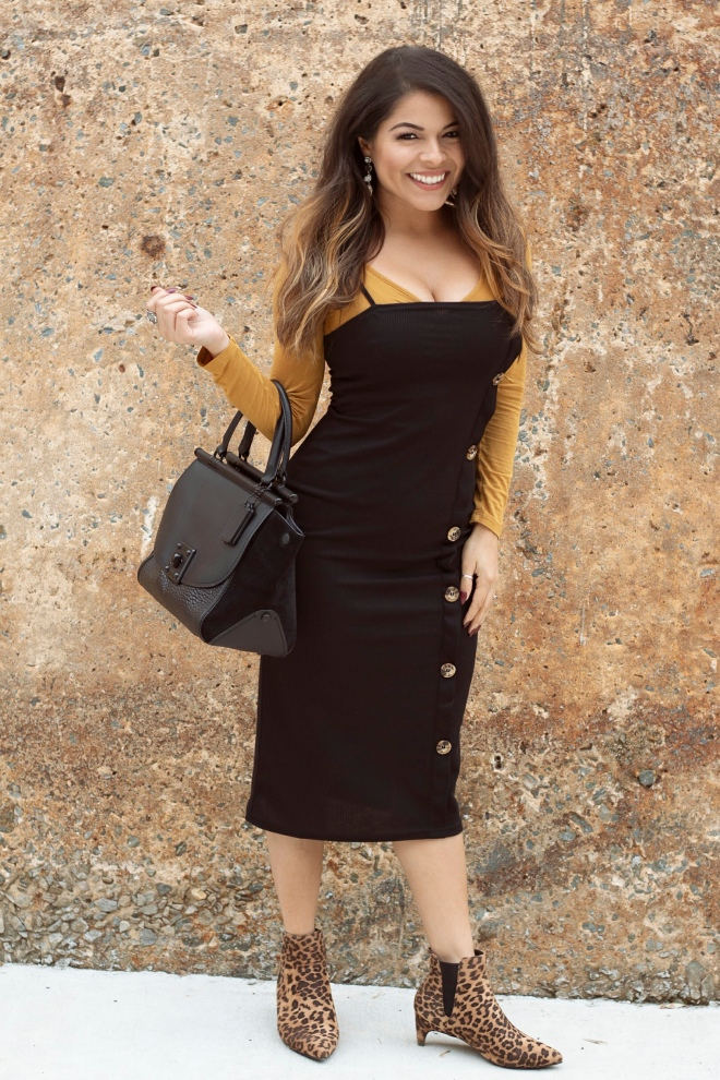 Yellow and black button dress