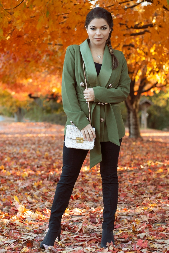 Military Blazer and tweed purse